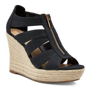 Black Meredith zipper wedge sandals